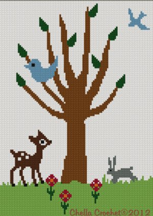 Tree of Life #1 Baby Deer Bird Bunny Crochet Afghan Pattern Graph