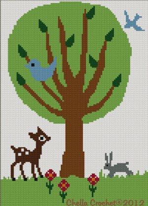 Tree of Life #2 Baby Deer Bird Bunny Crochet Afghan Pattern Graph