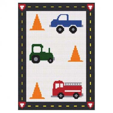 Little Boy vehicles Truck Tractor Fire Truck Cones Road Boarder Crochet Pattern
