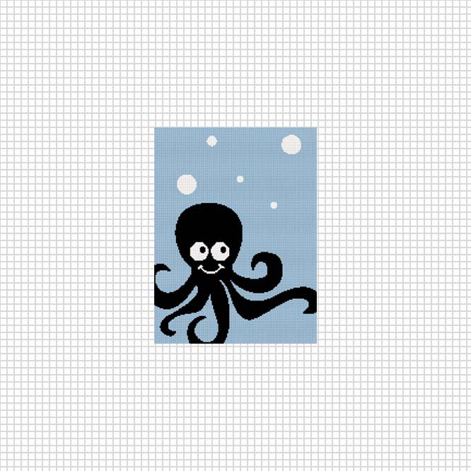 Cute Baby Octopus Hanging Out Ocean Afghan Crochet Pattern Graph
