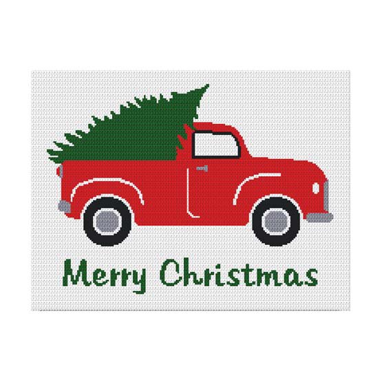Chella Crochet Vintage Retro Truck with Christmas Tree for the Holidays Afghan Crochet Pattern Graph
