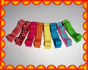8 Super Adorable solid, polka dot and gingham clippies..... NON Slip