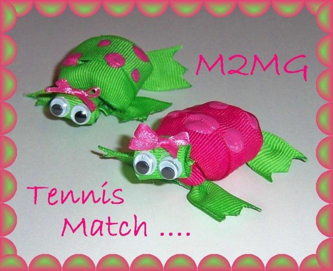 Adorable TURTLE hair bow clippie M2MG Tennis match