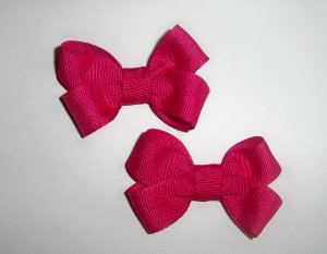 Adorable Hot Pink Tiny Little Hair Bow Set