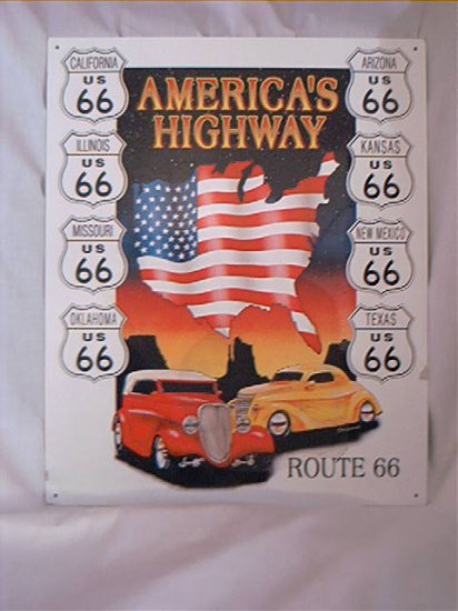 ROUTE 66 AMERICA'S HIGHWAY TIN METAL SIGN