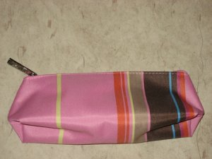 New Clinique Pink w/ Stripes Cosmetics Make up case
