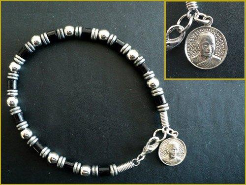 Steel Beaded Buddhist Amulet Bracelet