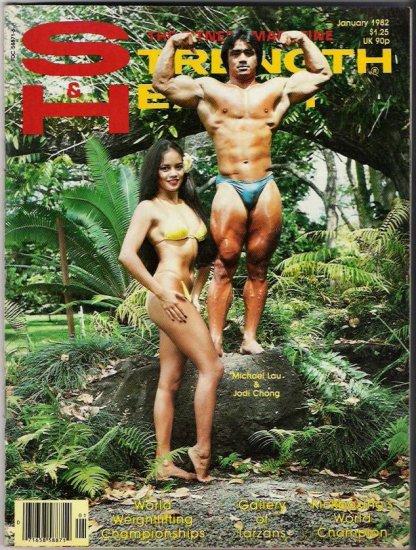 Strength & Health The Fitness Magazine January 1982-Tarzan Gallery-Micheal Lau Jodi Chong- Vintage