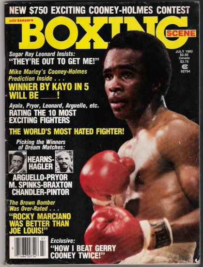 Lou Sahadi's Boxing Scene -July 1982-Cooney-Holmes-Sugar Ray Leonard