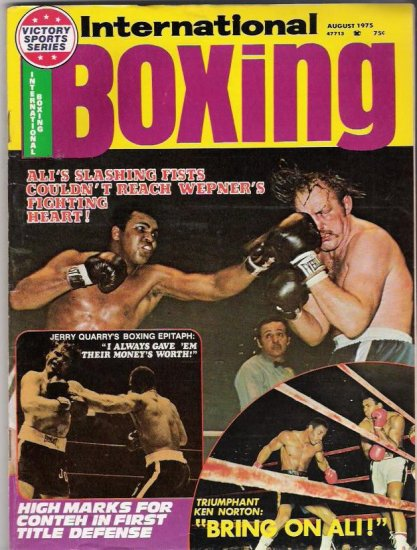 International Boxing- Ali's Slashing Fists-Jerry Quarry-Ken Norton- Vintage Magazine