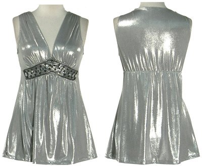 Silver Metallic Stretch Top