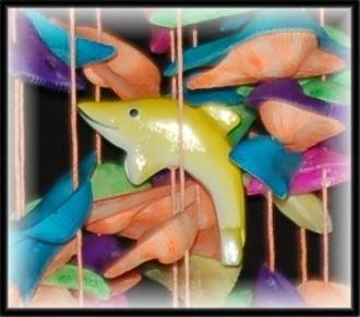 """Floating Fish Colorful Shell Wind Chimes - 15"""" Long - #244"""
