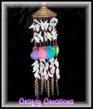 """Bright & Cheery Shell Wind Chimes - 15"""" Long - #242"""
