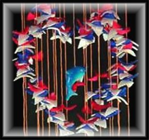 """Red, White, & Blue Heart Shell Wind Chimes - 24"""" Long - #231"""