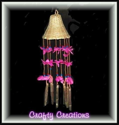 "Pink Shells Wind Chimes - 12"" Long - #215"