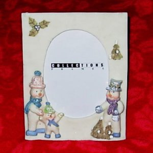 """Christmas Holiday Snowman 3""""x 5"""" Picture Frame NEW"""