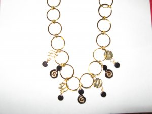 Goldtone and Black Bead Necklace