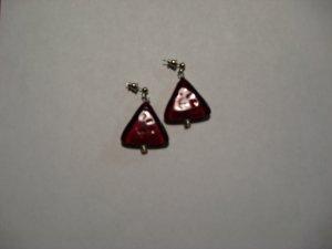 Red Triangle Glass Bead Earrings