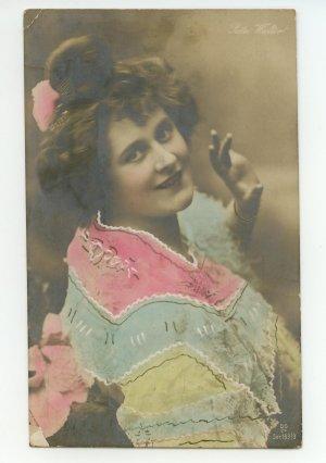 1906 Vintage Antique French Post Card Postcard Woman PC Rita Walter