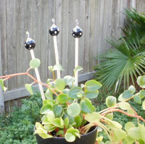 Polka Dot Beaded Small Plant Stake Bling - 3 Markers