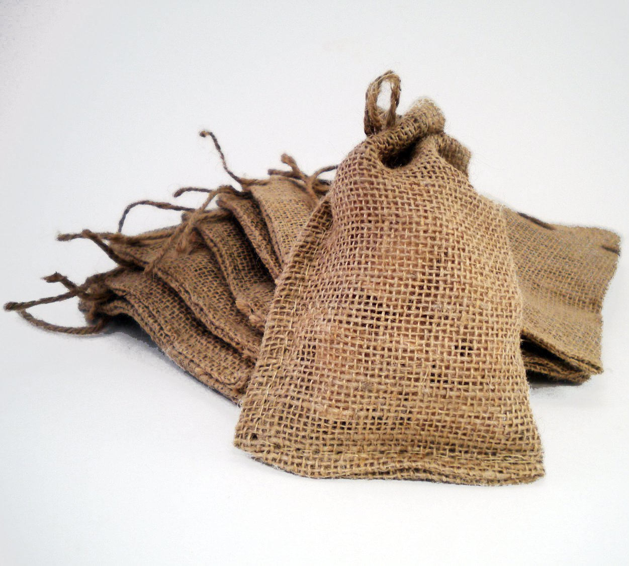 "5 Burlap Sacks With Jute Drawstring 4x6"" for Seeds or Gifts"