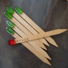 5 Large Decorative Wooden Plant Labels with Green Glass