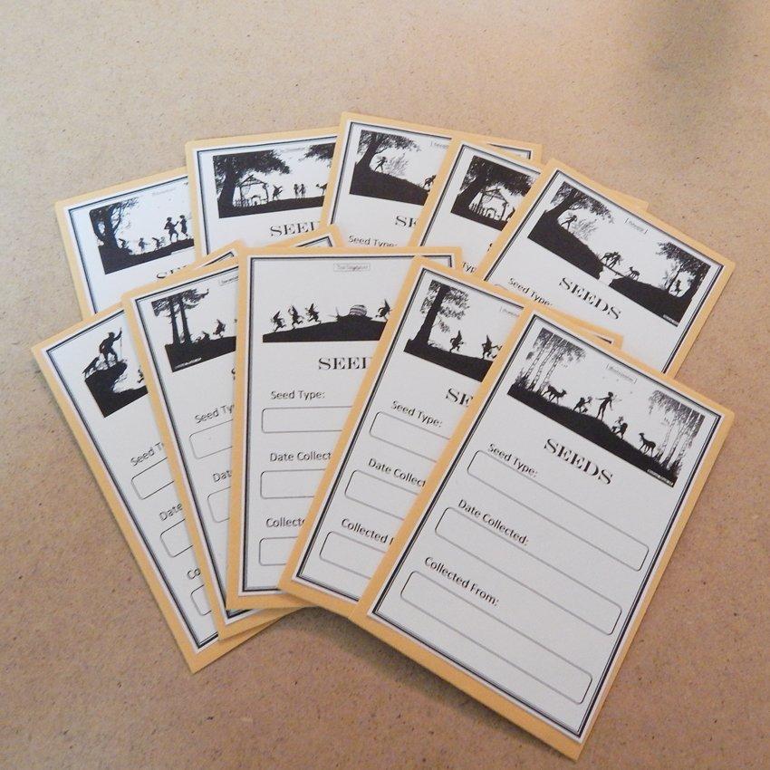 Exclusive Vintage Silhouette Seed Saving Envelopes Fairies Elfes Gnomes - Set of 10