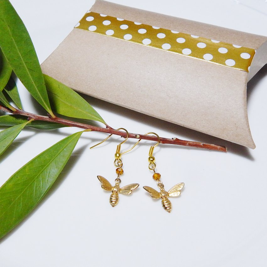 Botanical Gold Brass Bee Honeybee Earrings with Swarovski Crystal