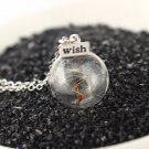 Botanical Dandelion Taraxacum Seed Glass Orb Vial Necklace
