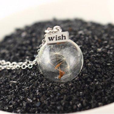 Botanical Dandelion Taraxacum Seed Glass Orb Vial Necklace
