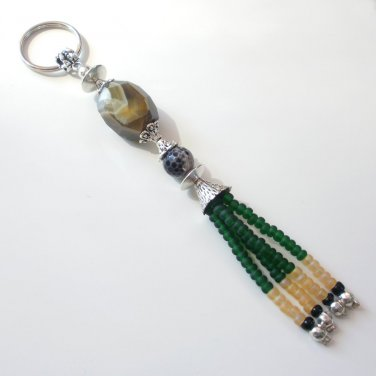 Natural Cut Agate Beaded Key Chain Handcrafted Unique Gift
