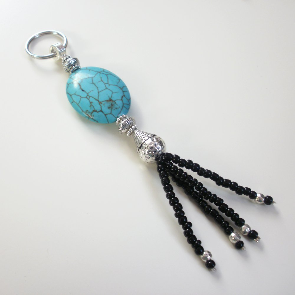 Turquoise Beaded Key Chain Handcrafted Unique Gift