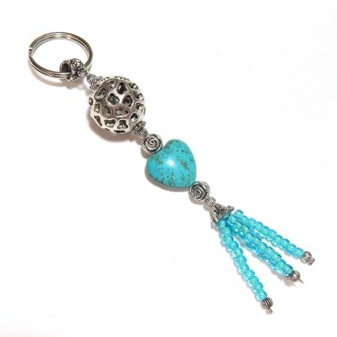 Turquoise Heart Beaded Key Chain Handcrafted Unique Gift