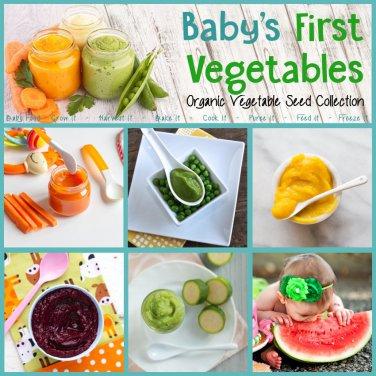 Baby's First Heirloom Vegetables Garden Seed Collection - 6 Varieties