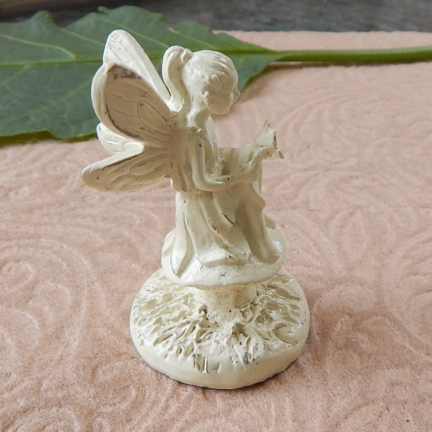 Miniature Sitting Garden Fairy Pixie Figurine Ivory