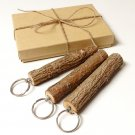 Rustic Wood Branch Key Rings Handcrafted - 3 Key Chains