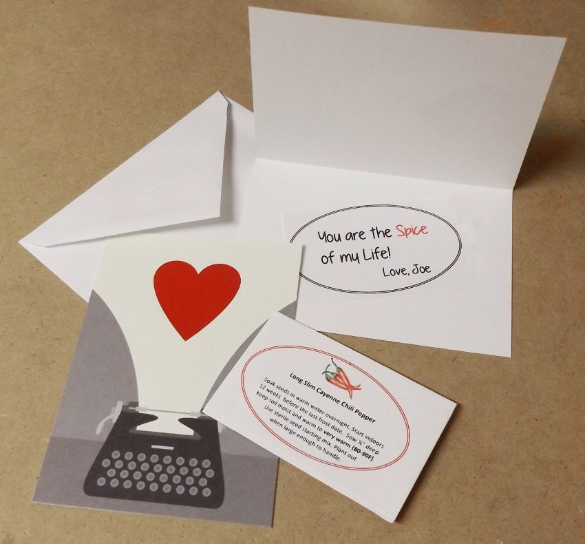 Valentines Card Mailed with Seeds and Custom Message