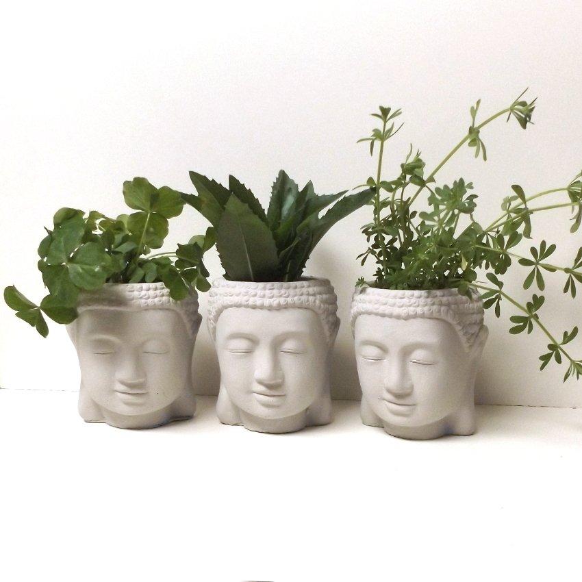 Buddha Head Concrete Face Planter - Set of 3