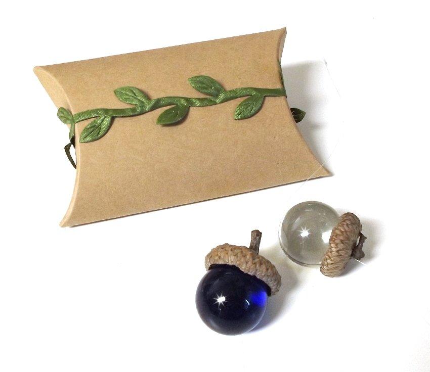 Acorn Capped Glass Suncatcher Ornament Handcrafted Unique Gift
