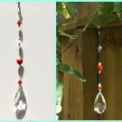 Beautiful Red Stone Heart and Sparkly Crystal Prism Sun Catcher