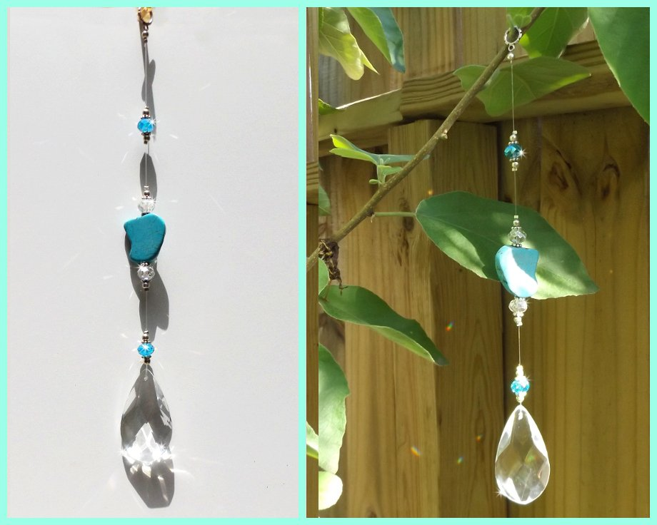 Beautiful Turquoise Stone and Sparkly Crystal Prism Sun Catcher