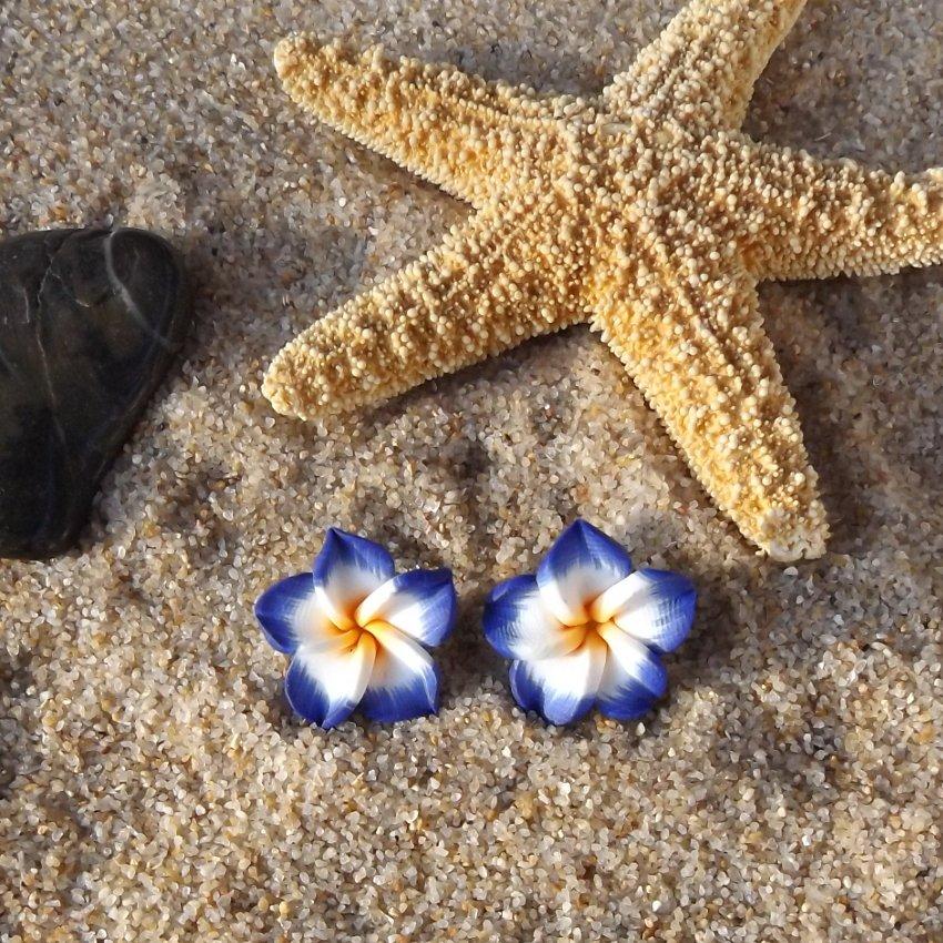 Tropical Plumeria Flower Stud Earrings - Blue