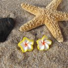 Tropical Plumeria Flower Stud Earrings - Yellow