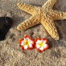 Tropical Plumeria Flower Stud Earrings - Red