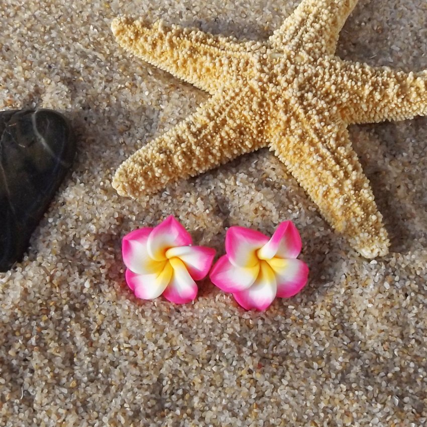 Tropical Plumeria Flower Stud Earrings - Pink