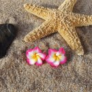 Tropical Plumeria Flower Stud Earrings - Pink