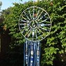 Beaded Blue Mandala Suncatcher with Gemstone and Glass Unique Gift
