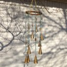 Beaded Gold and Turquoise Wind Chime with Bells and Glass Unique Gift