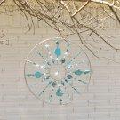 Large Beaded Turquoise Mandala Suncatcher with Crystal Glass Unique Gift