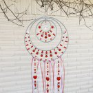 Beaded Red Mandala Suncatcher with Crystal Glass Unique Gift